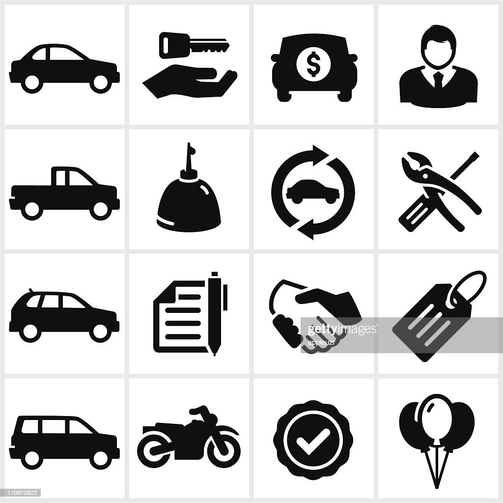 Car Dealership Icons Set Stock Vector Illustration 138462023 ...