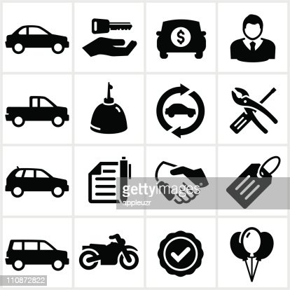 Black Auto Dealership Icons : Vector Art