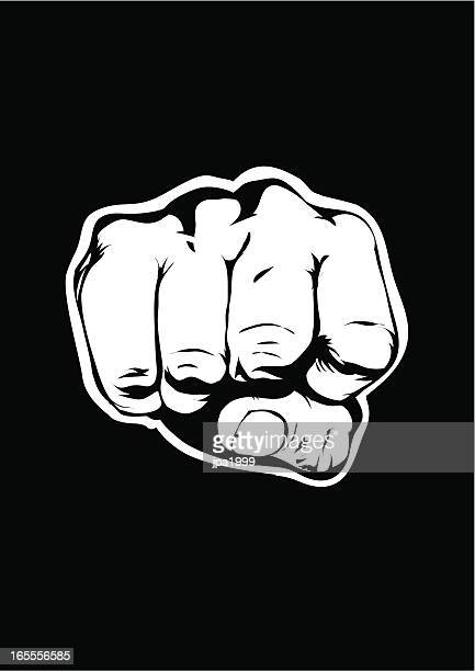 Black background with illustration of a fist