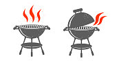 BBQ Grill with red fire on white background.