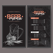 Black beer menu template with beer keg and mug, hop branch, wheat, chips, nuts, chicken wings and snack plate. Great for bar, restaurant, cards and menu, pub signs, culinary design.