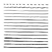 Black brushpen hand drawn vector lines. Set of strokes, brushes. Isolated on white background