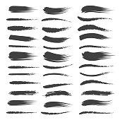 Black brushstroke set isolated on white background. Vector artistic stroke brush or inked paintbrush collection