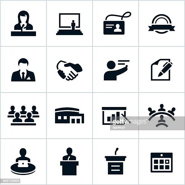 Icone di affari nero Convenzione