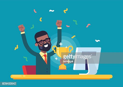 Black businessman got a gold award from monitor. : stock vector