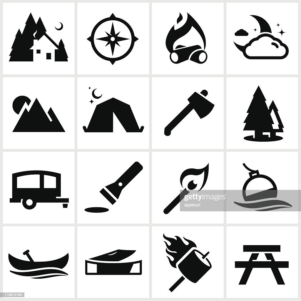 black camping icons vector art getty images