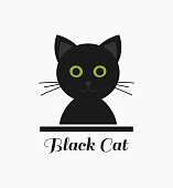 Cute black cat with green eyes. Vector illustration