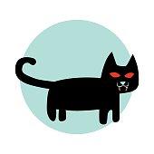 Domestic Cat, Animal, One Animal, Black Color, Cartoon