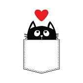 Black cat in the pocket looking up to red heart. T-shirt design. Cute cartoon character. Flat design. White background. Vector illustration