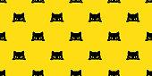 Black cat kitten vector illustration Seamless Pattern background wallpaper background