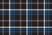 Black check seamless fabric texture. Vector illustration.