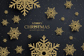 Black christmas background with golden snowflakes. Vector illustration