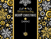Black christmas card with golden and silver glittering snowflakes and stars, vector illustration