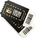 Two cinema tickets with barcode, close up top view isolated on white background. Creative vector concept, movie banner.