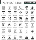 Black classic 3d modeling and printing web icons set