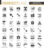 Black classic Building and construction tools web icons set. Home repair items