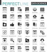 Black classic Data Science, data analysis icons set