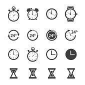 Vector black clock icons set isolated on white background