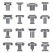 Ancient columns vector icon set. Vector black column icons set on white background.