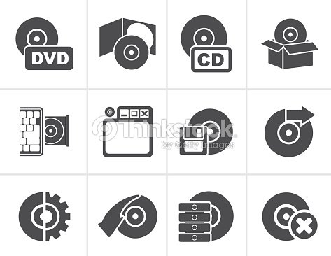 Black Computer Media and disk Icons : stock vector