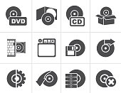 Black Computer Media and disk Icons - vector icon set