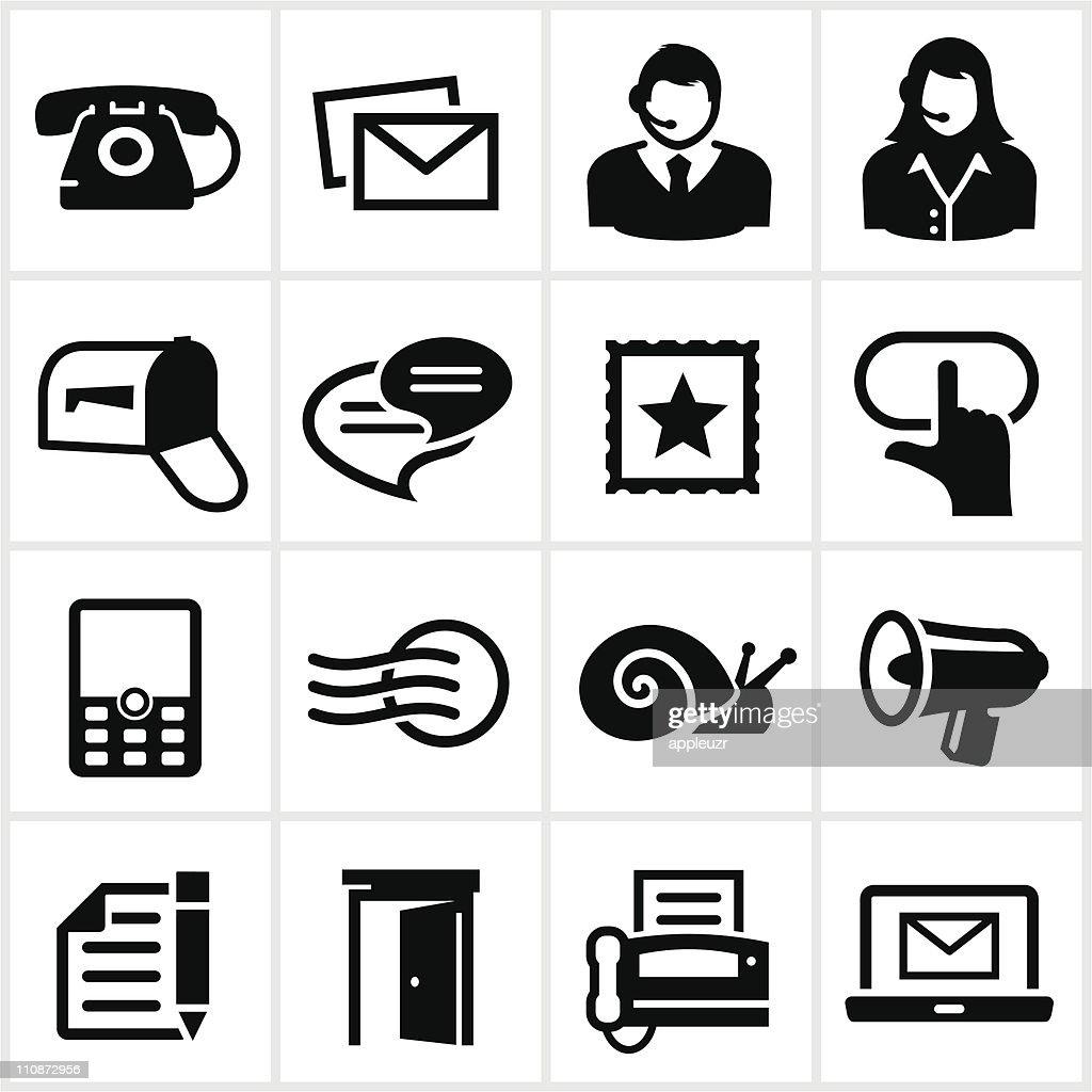 Black Contact Icons : Vector Art