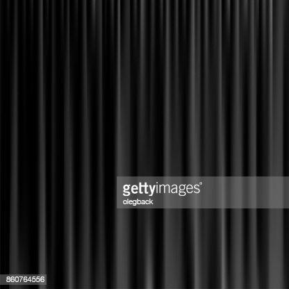 Black curtain background. Vector realistic black curtain. : stock vector