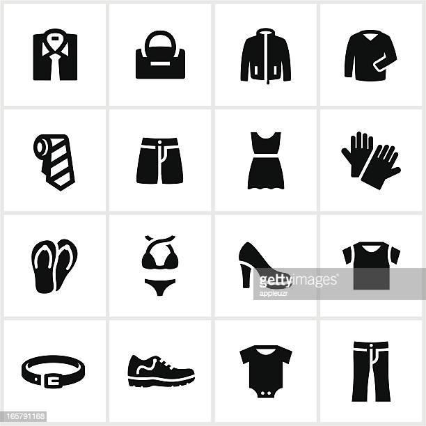 Negro iconos de tienda de ropa