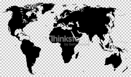 Black Detailed World Map Isolated On Transparent Background Stock