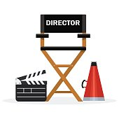 Film directors chair with megaphone, projector, camera and clapboard. Work on the set of the film. Flat vector cartoon illustration. Objects isolated on a white background.