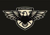 Black eagle symbol, emblem on a dark background.