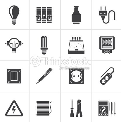 Black Electrical Devices And Equipment Icons Vector Art – Icons Fuse Box