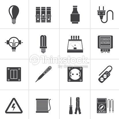 Schwarz Elektronische Geräte Und Geräte Symbole Vektorgrafik ...