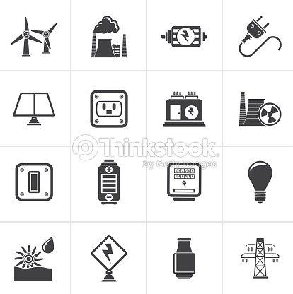 Black Elektrizität Kraft Und Energiesymbole Vektorgrafik | Thinkstock