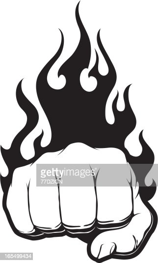 Black Fire Fist Vector Art | Getty Images