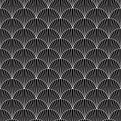 Traditional japanese sea pattern with circles. Mermaid scales. Black fish scales. Vector illustration