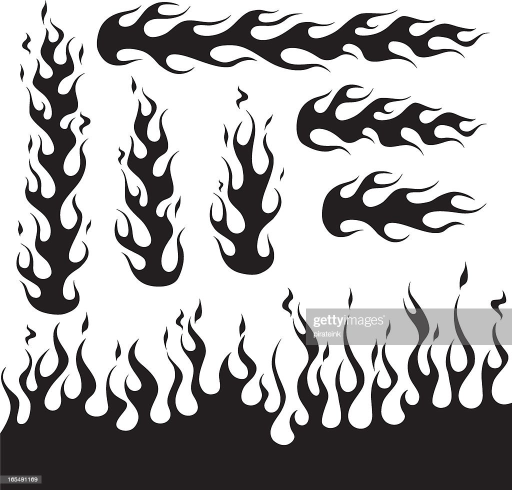 Black Flame Design Decals Vector Art | Getty Images