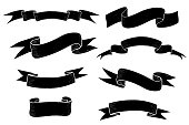 Black flat ribbon banners. Hand drawn sketch. Vector illustration isolated on white background