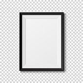 Black frame isolated on transparent background. Vector illustration.