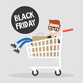 Black Friday Annual Sale Event. Young character having fun during the Black Friday sale. Sitting in the shopping cart. Big Fall Sale. Lifestyle concept. Shopping. Flat vector illustration, clip art