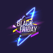 Black friday banner. Original poster for discount. Geometric shapes and neon glow against a dark background. Vector illustration.
