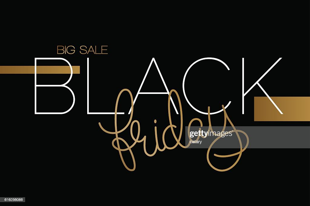 black friday banner with lettering word : Vector Art