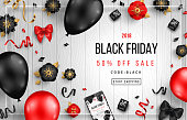 Black Friday Sale Poster with Balloons, Flowers and Confetti on Wooden Background. Vector illustration.