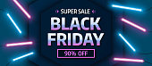 Black friday sale banner. Glowing neon background. Vector illustration