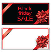 Black friday sale card template with red satin ribbon. Vector paper illustration.