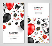 Black Friday Sale Cards with Balloons, Flowers and Confetti on White Background. Vector illustration.