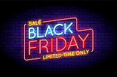Black Friday Sale illustration in neon style. Luminous neon words on the wall. Vector illustration for web or print adverts for black friday sales.