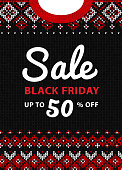 Black Friday sale inscription design template. Black Friday banner. Merry Christmas knitted background. Ugly sweater knitting poster. Vector illustration