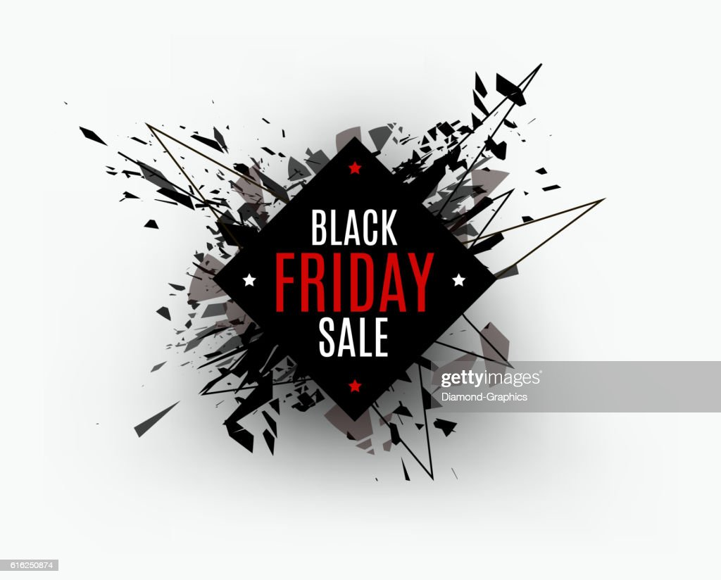 Black Friday sale inscription design template. Rectangular banne : Vector Art