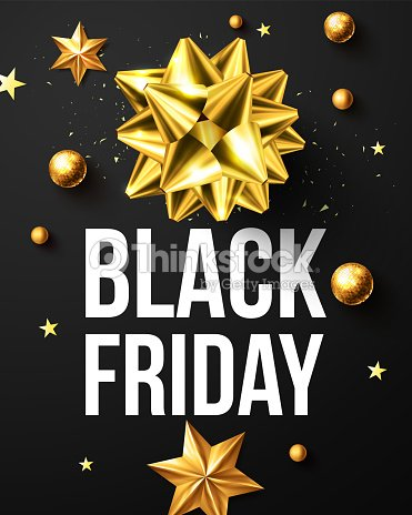 black friday sale poster with golden ribbon and christmas decoration elements for retailshopping or - Black Friday Christmas Decoration Deals